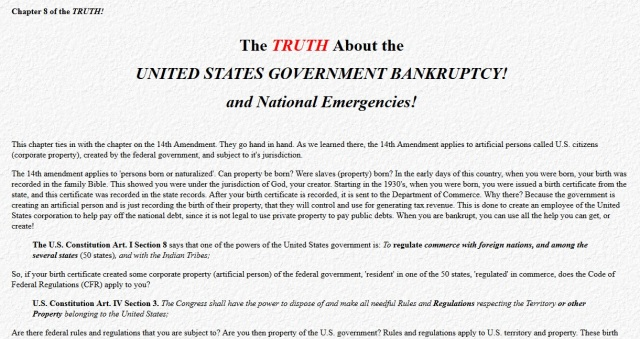 Truth About UNITED STATES BANKRUPTCY