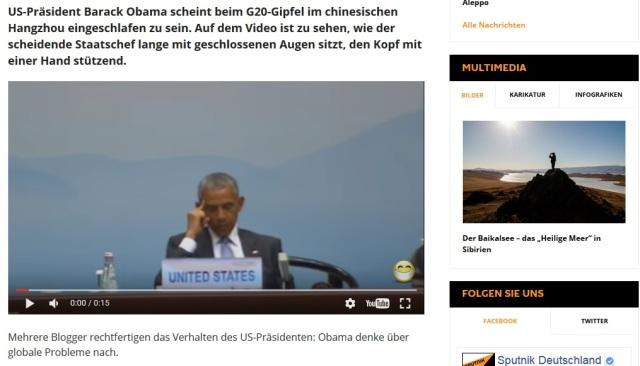 Obama schnarcht auf G-20 Gipfel in China