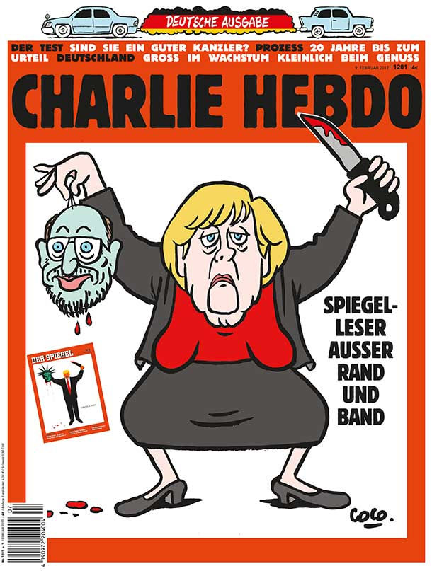 charlie-hebdo-cover-zeigt-karikatur-von-merkel-als-henkerin-mit-dem-abgetrennten-haupt-des-spd-kanzerkandidaten-martin-schulz-in-der-rechten-hand-auf-dem-cover-prangt-auch-das-aktuelle-titelblatt-des
