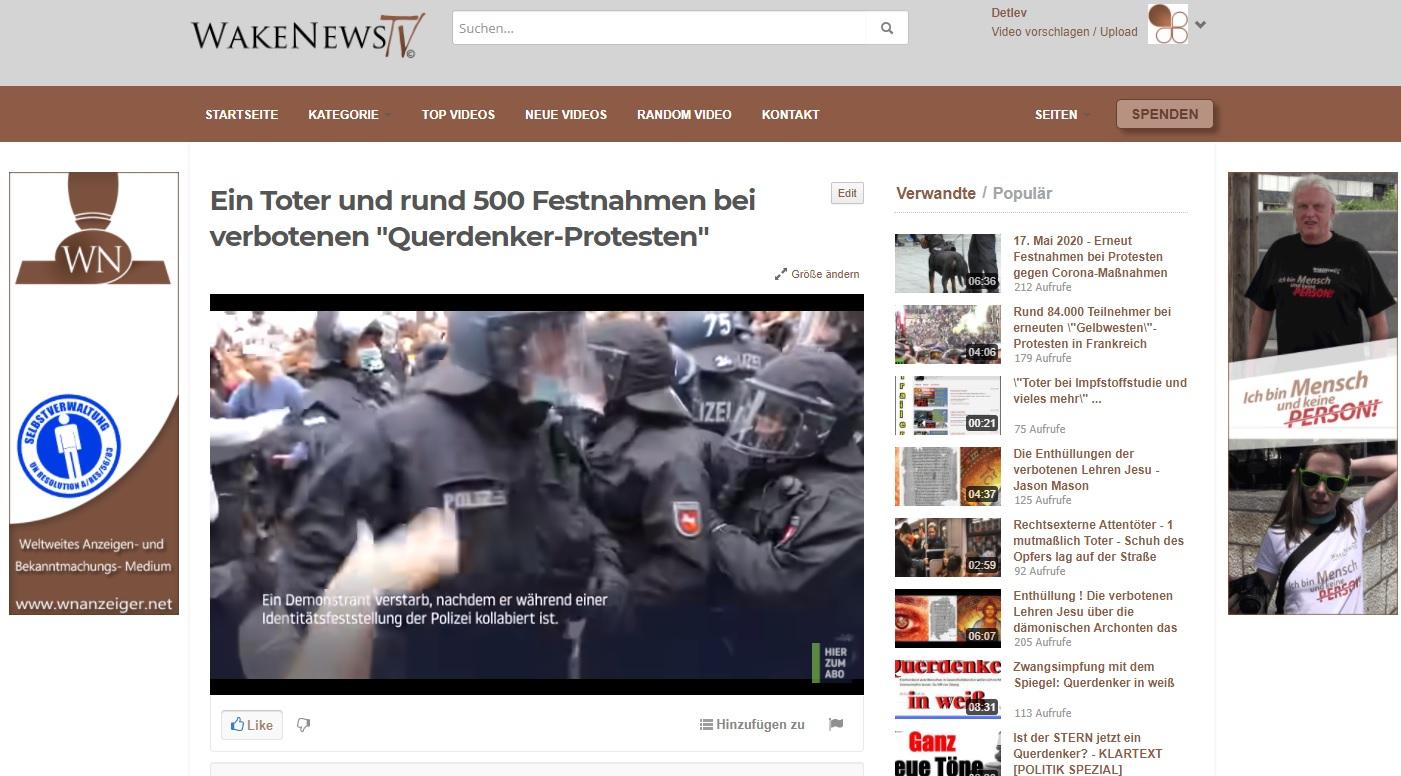 Ein Toter und rund 500 Festnahmen bei vernotenen Querdenker-Protesten